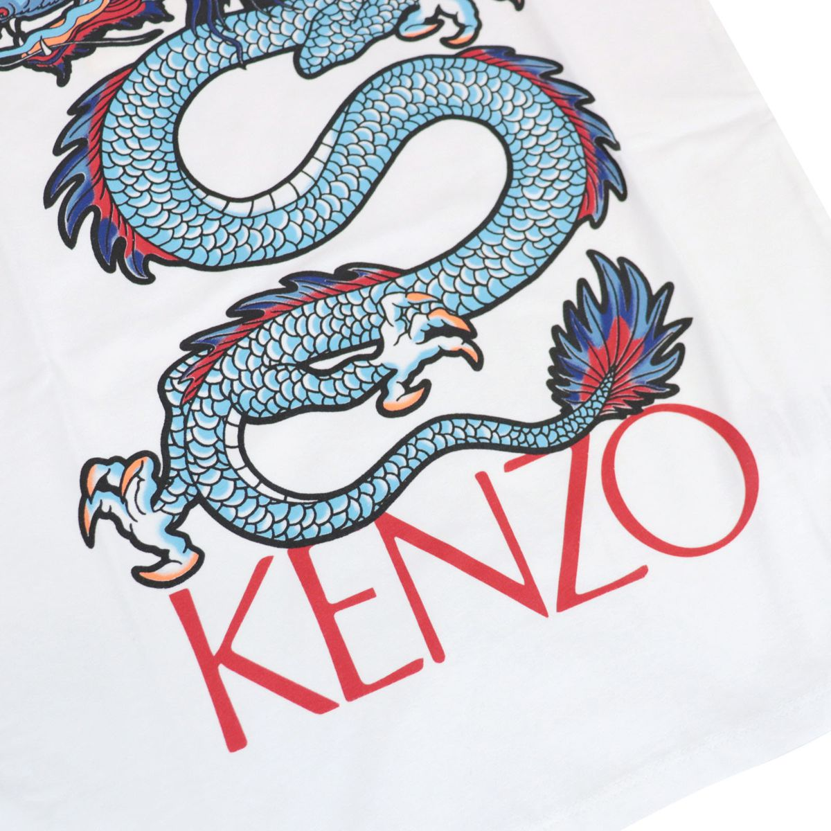 Crew neck cotton T-shirt with contrasting dragon print White Kenzo