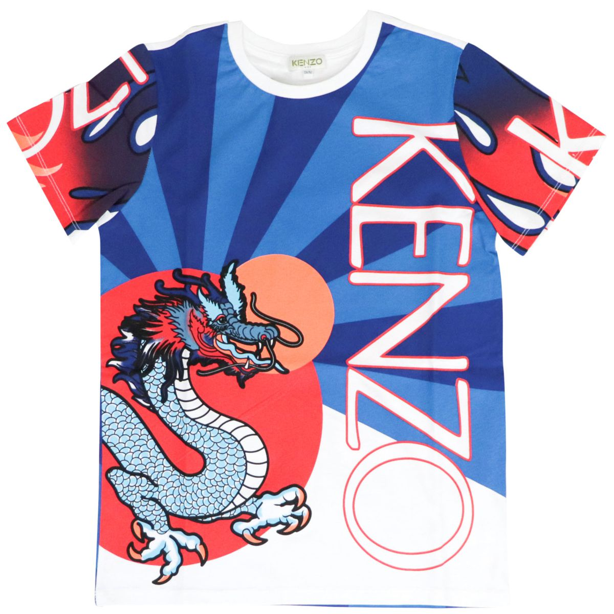 Jim cotton t-shirt with all-over multicolor print White Kenzo