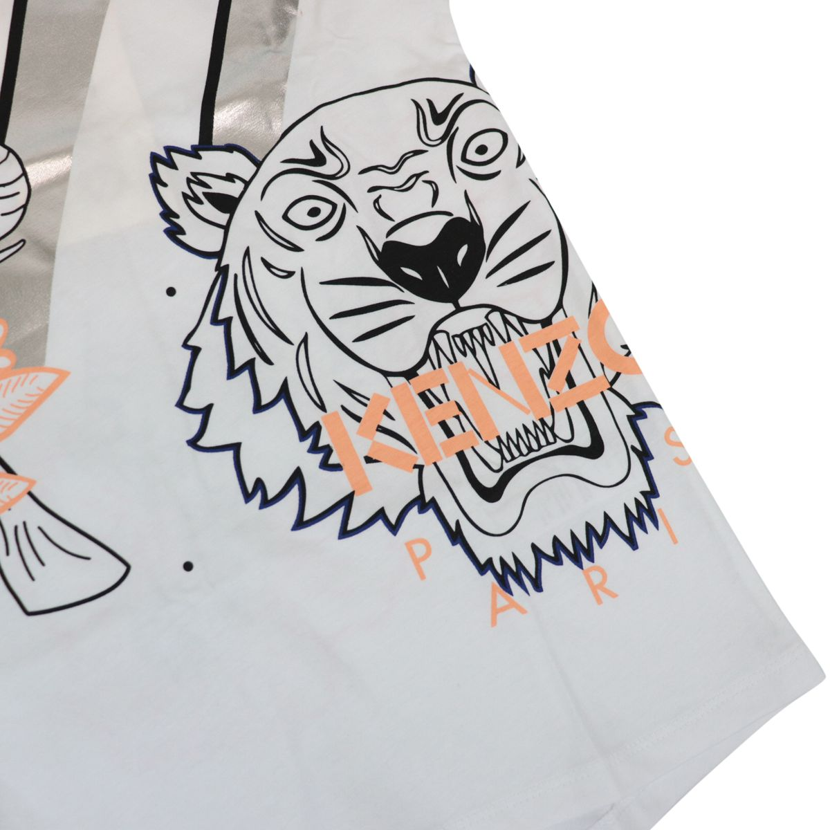 Cotton t-shirt with contrasting Tiger logo print White Kenzo
