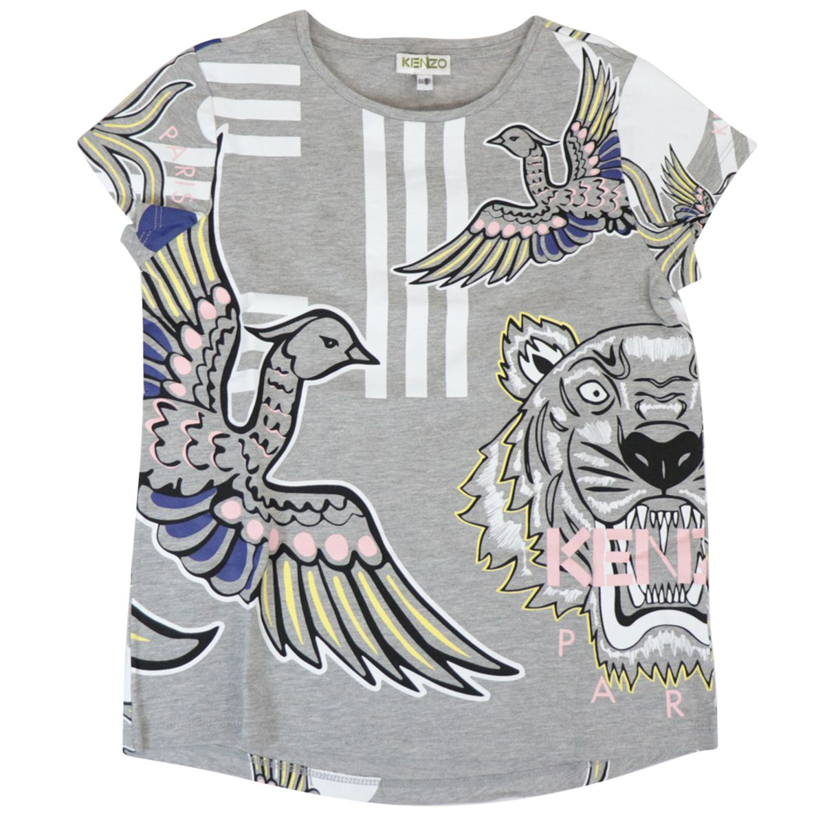 Crew neck cotton T-shirt with multicolor prints Medium gray Kenzo