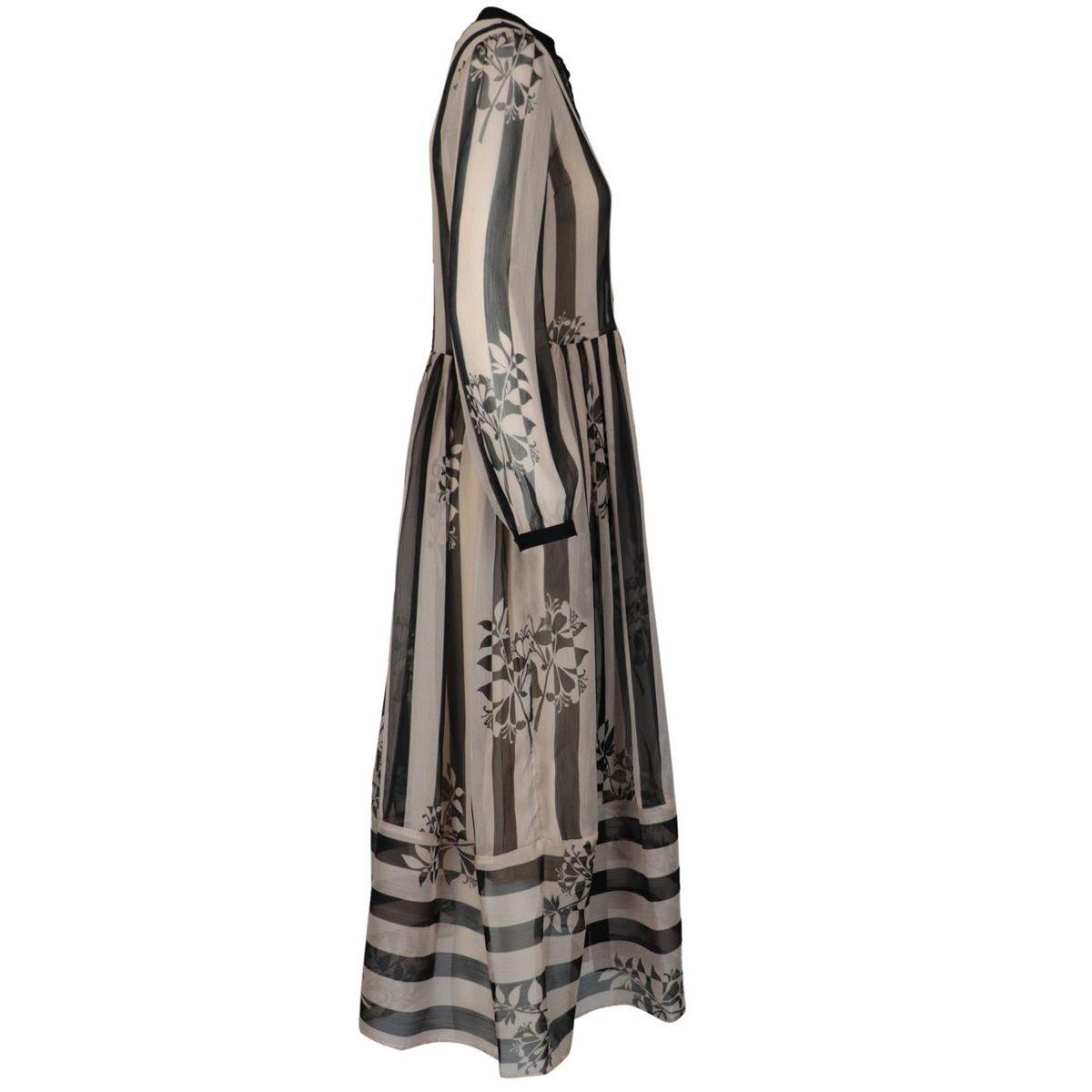 Georgette midi dress with striped and leaf print Black / powder Twin-Set