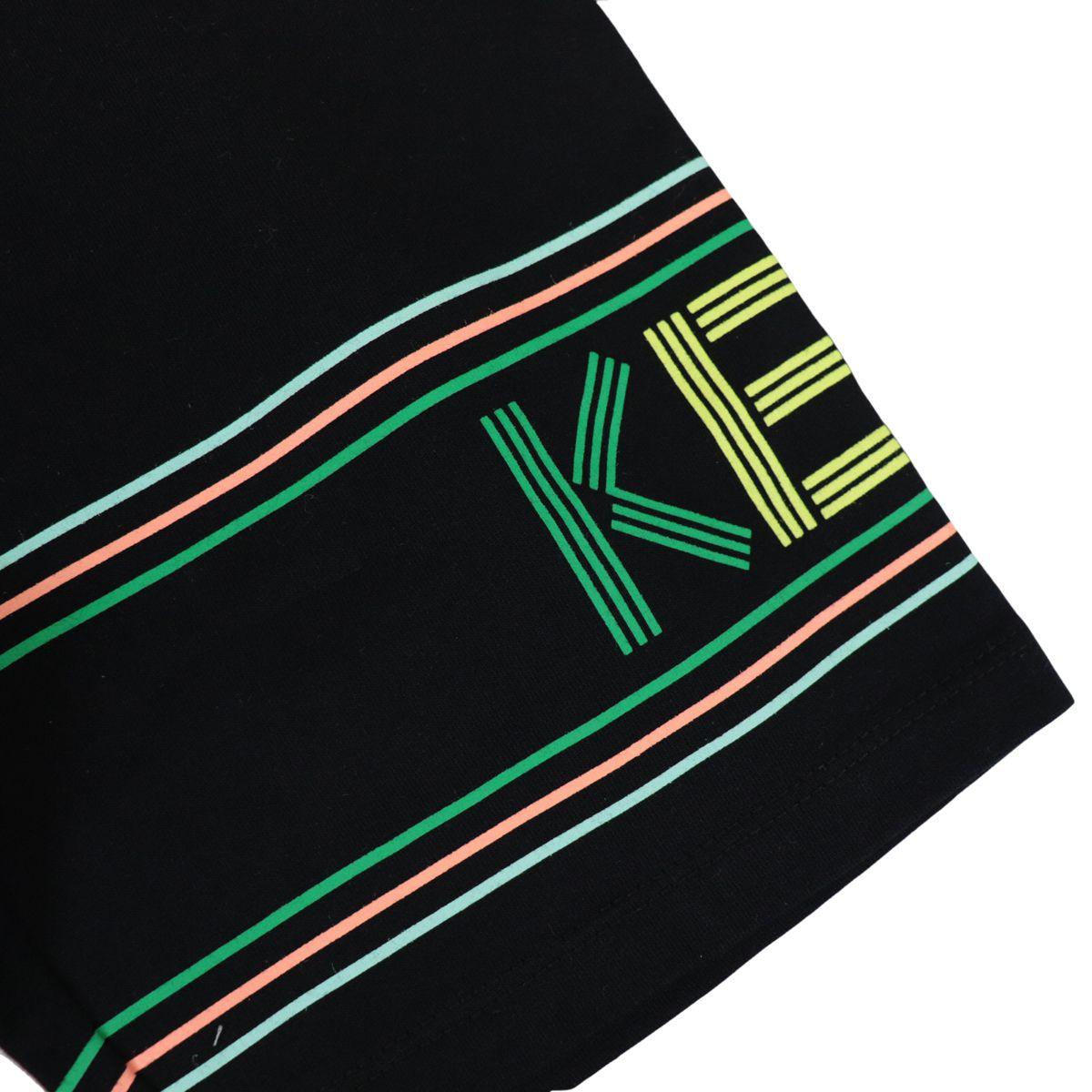 Cotton bermuda with multicolor logo print Black Kenzo