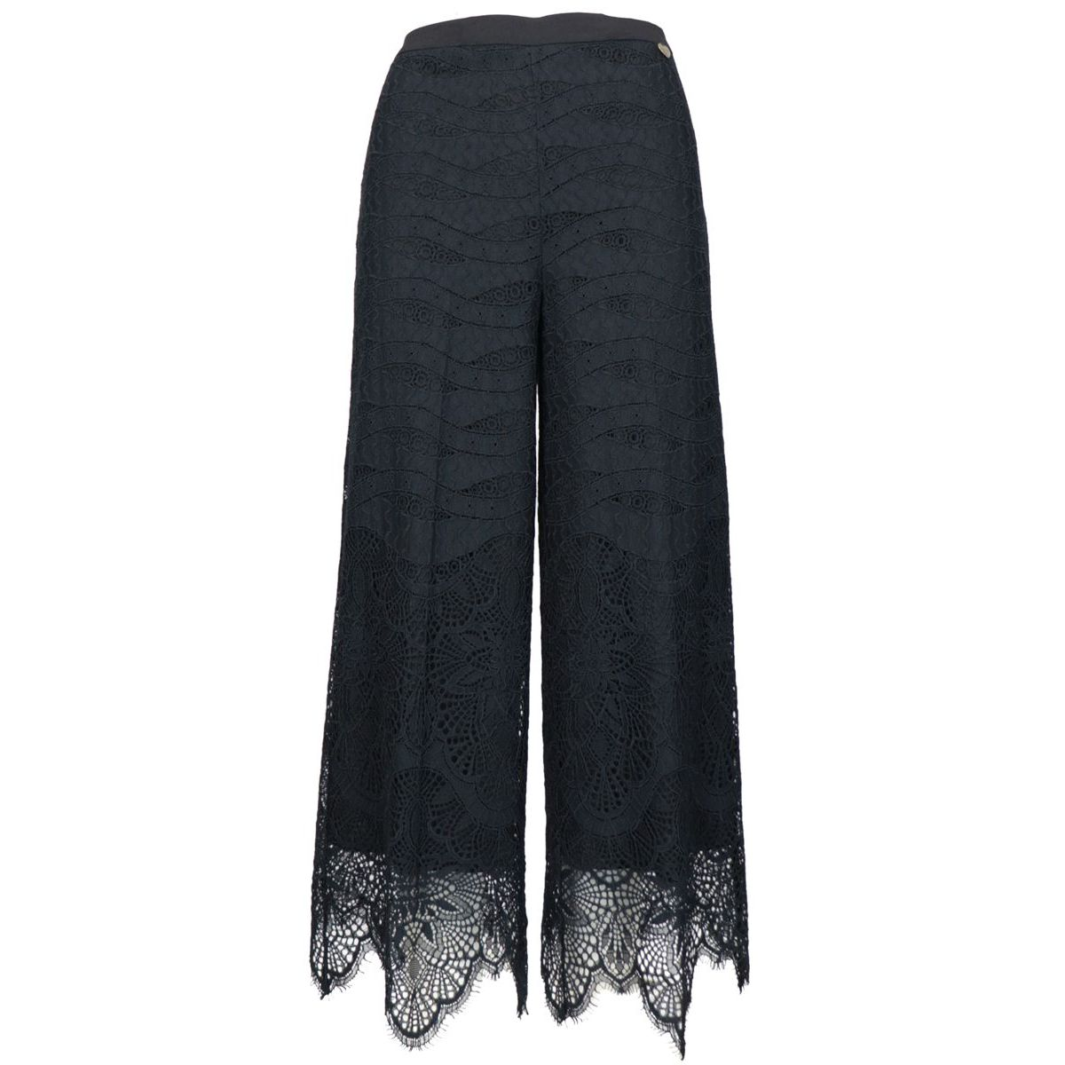 Cotton crop trousers with embroidery Black Twin-Set