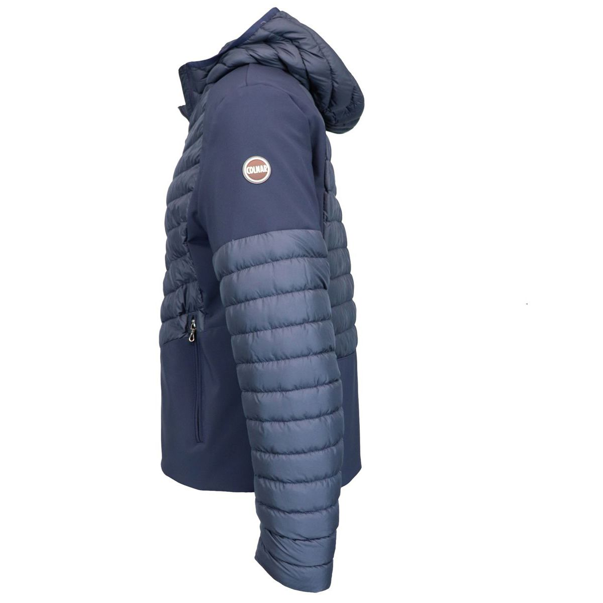 Quilted down jacket with hood and neoprene effect inserts Blue Colmar