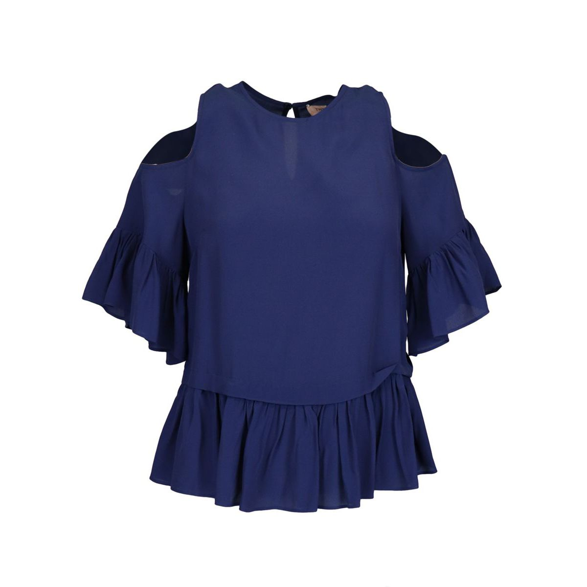 Top in silk blend with bare shoulders and ruffles Blue Twin-Set