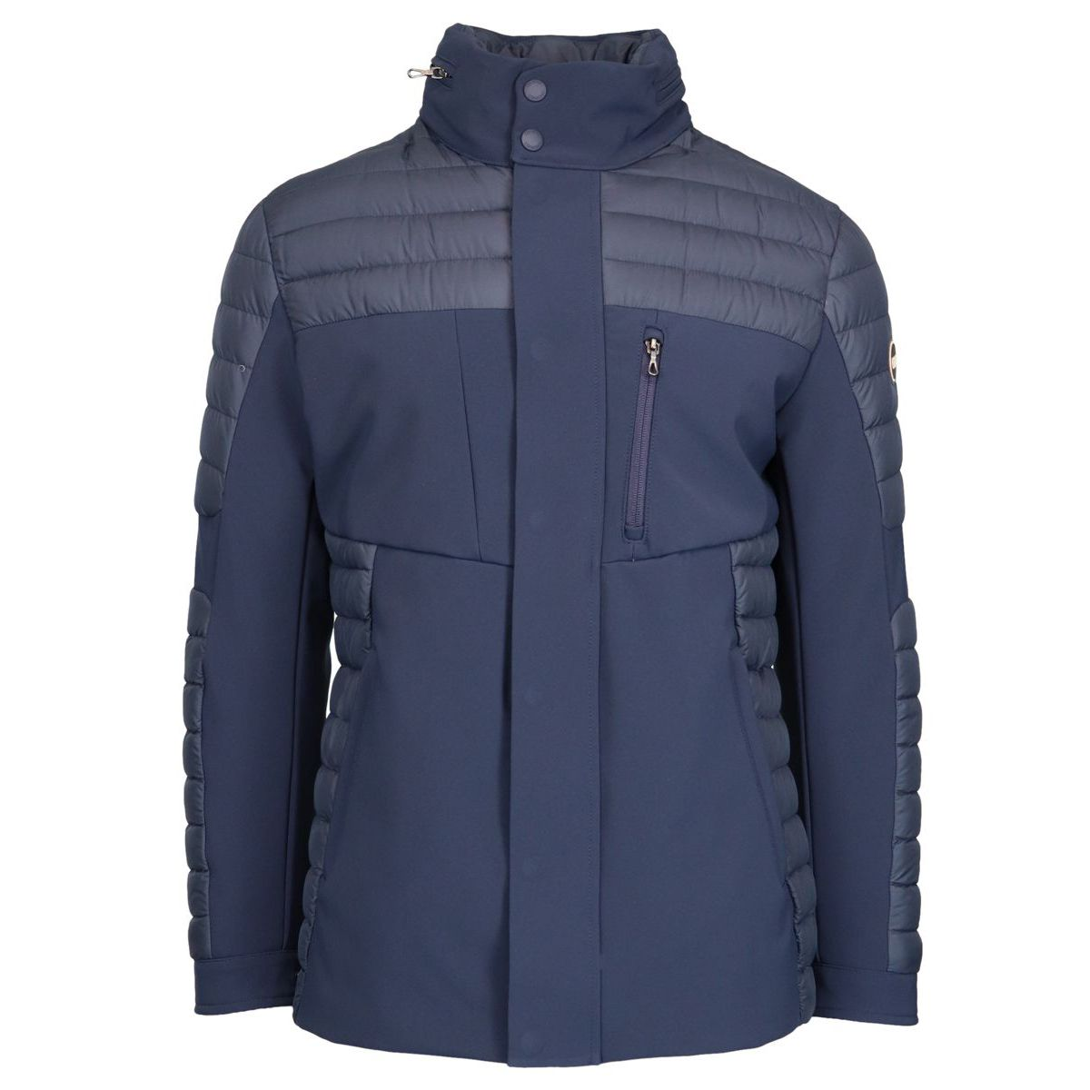 Quilted down jacket with neoprene effect inserts Navy Colmar