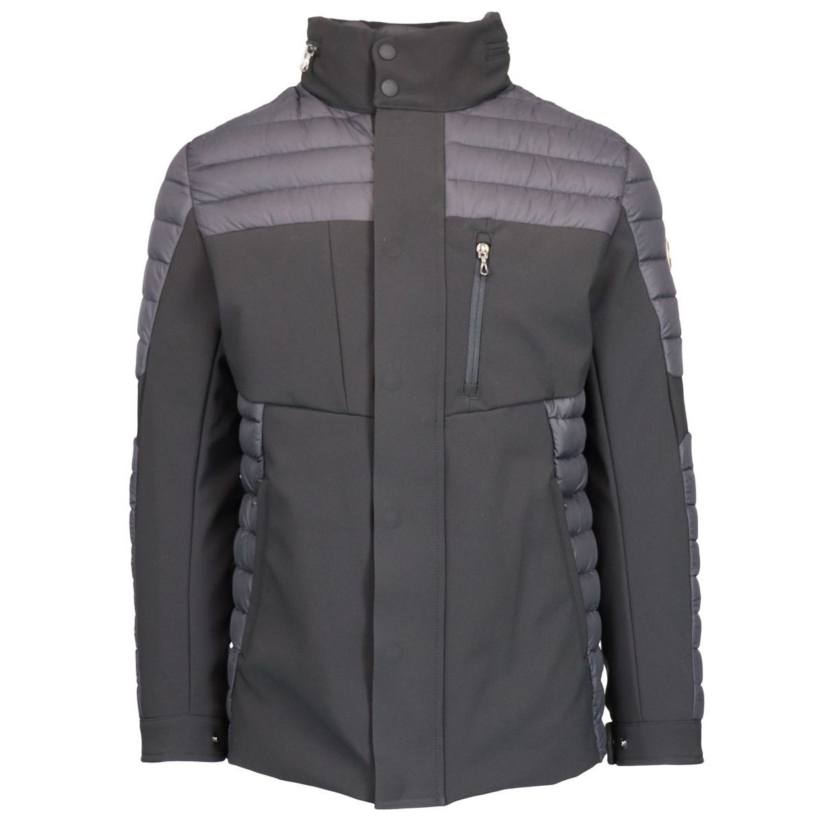 Quilted down jacket with neoprene effect inserts Black Colmar