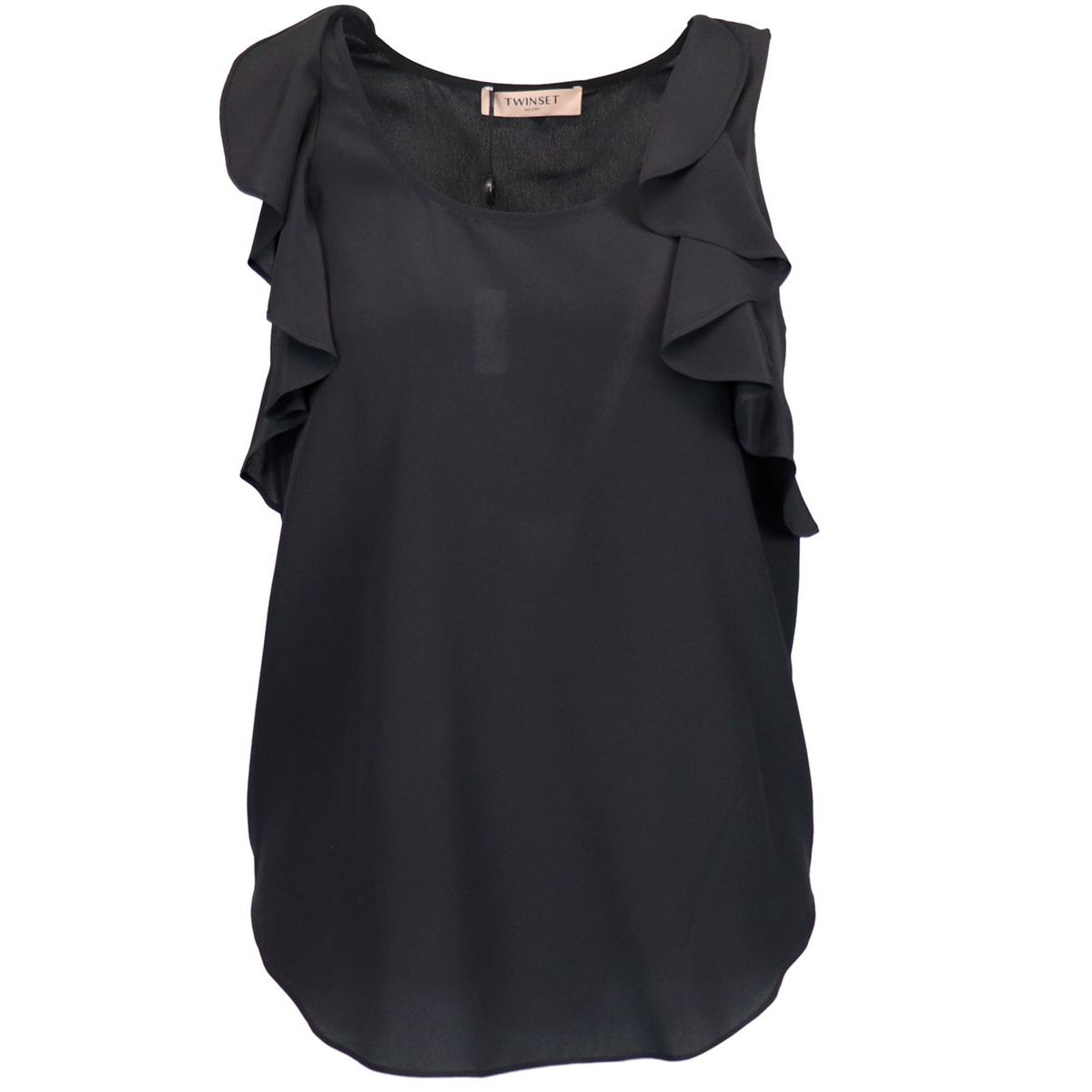 Silk blend top with ruffles on armholes Black Twin-Set