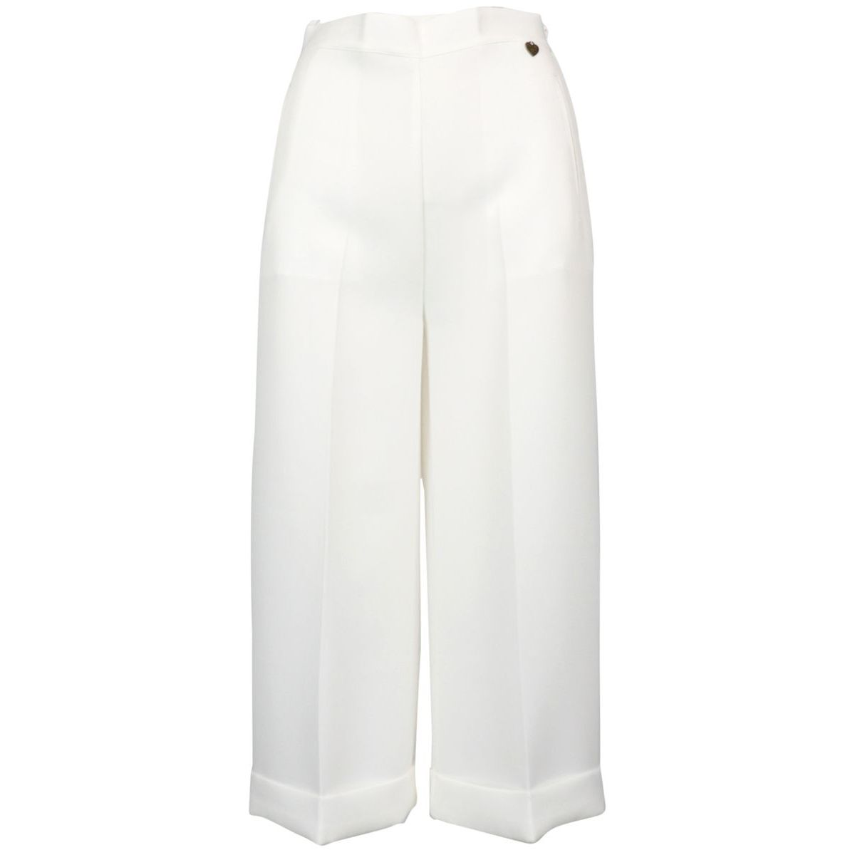 Wide cropped trousers in high-waisted crepe White Twin-Set