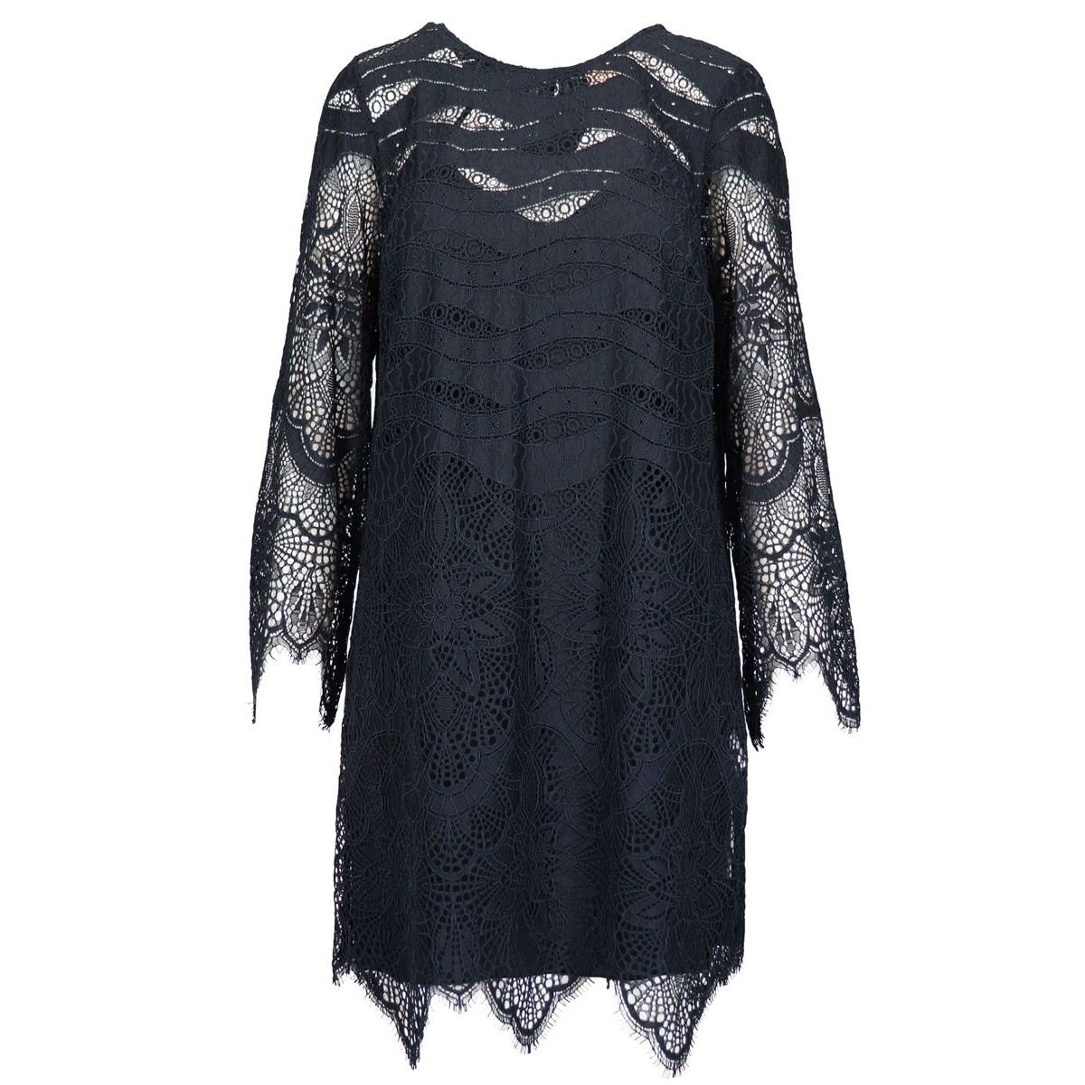 Round neck dress in macramé lace with scalloped bottoms Black Twin-Set
