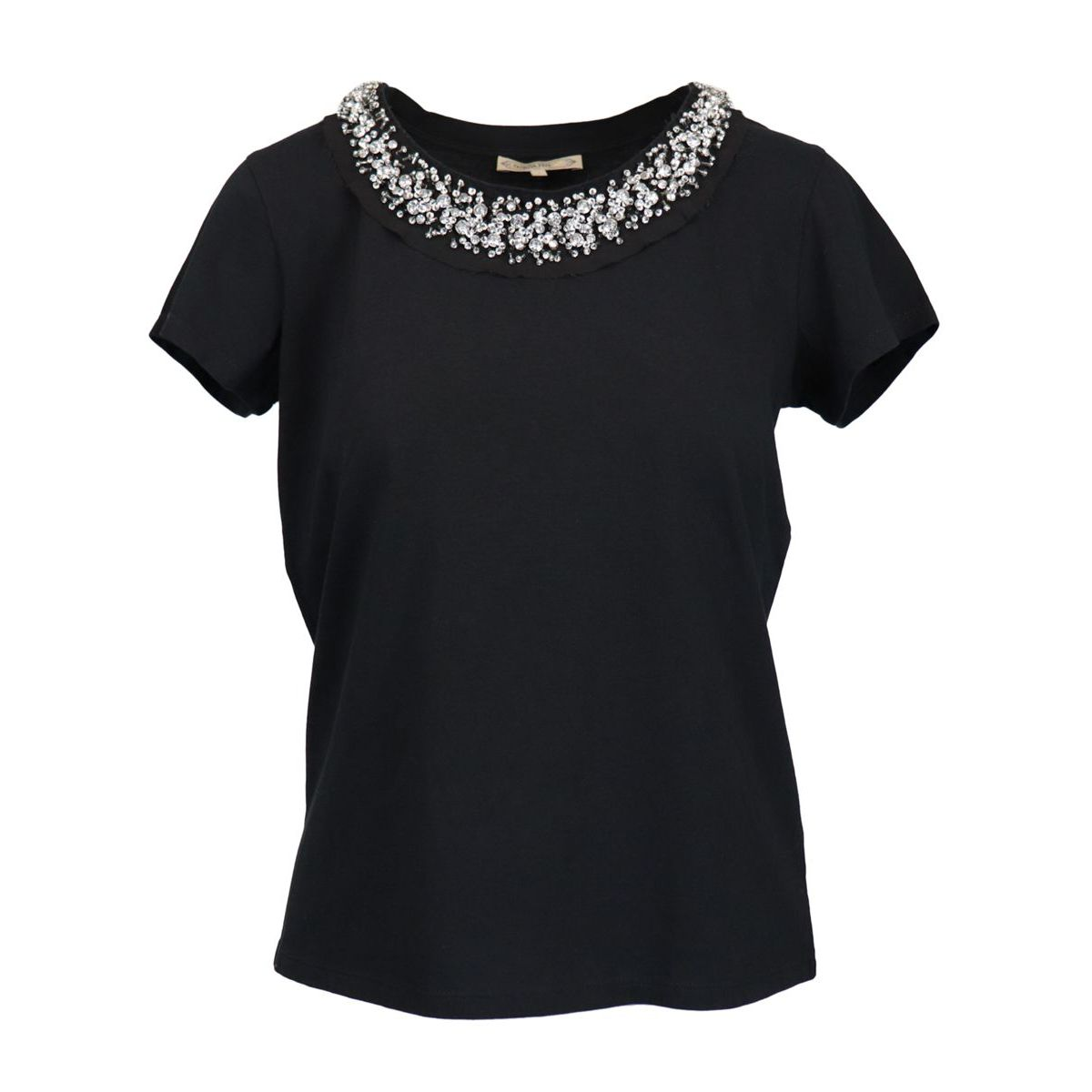 Short-sleeved cotton T-shirt with beads and rhinestones on the crew neck Black Patrizia Pepe