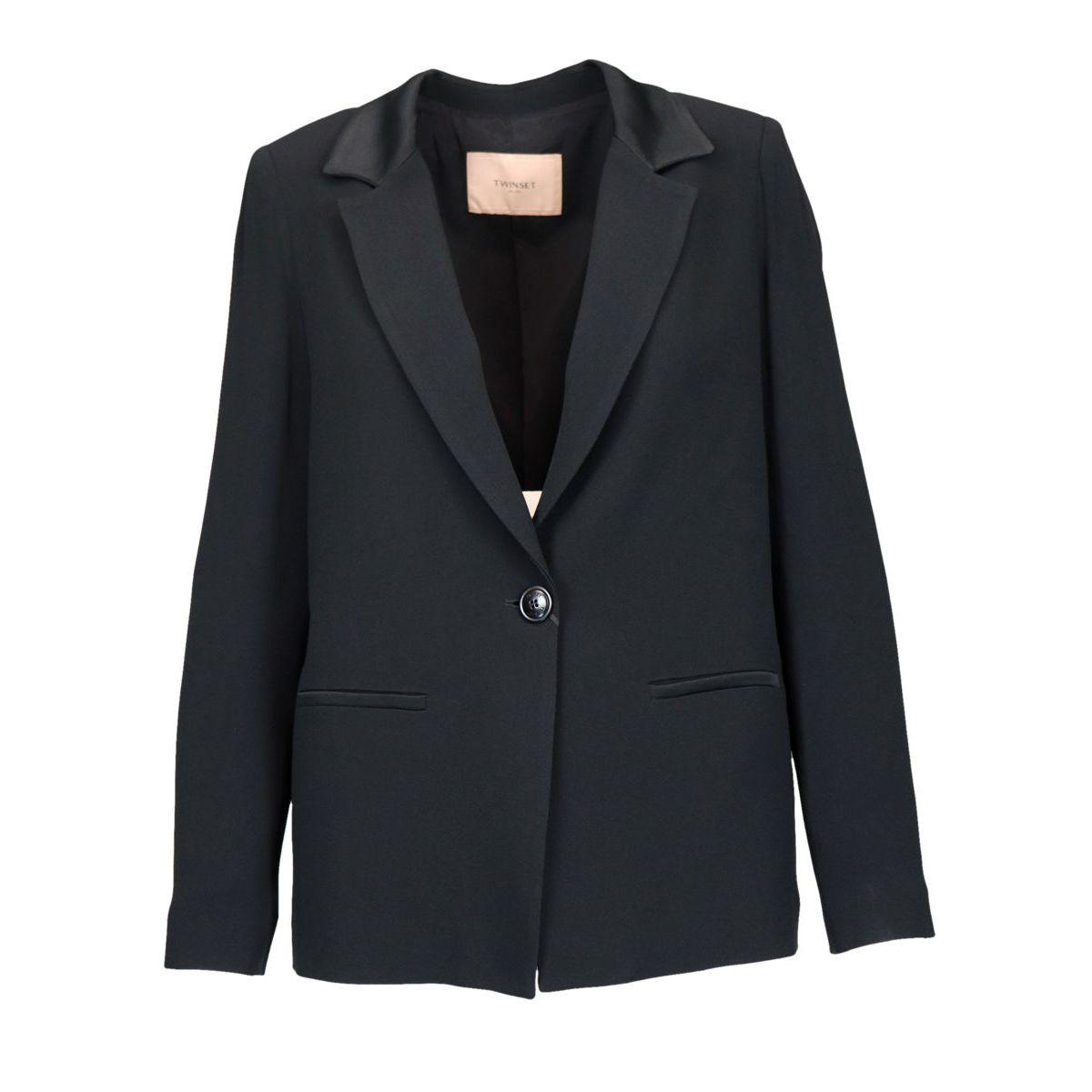 Viscose blend blazer with lapel collar Black Twin-Set