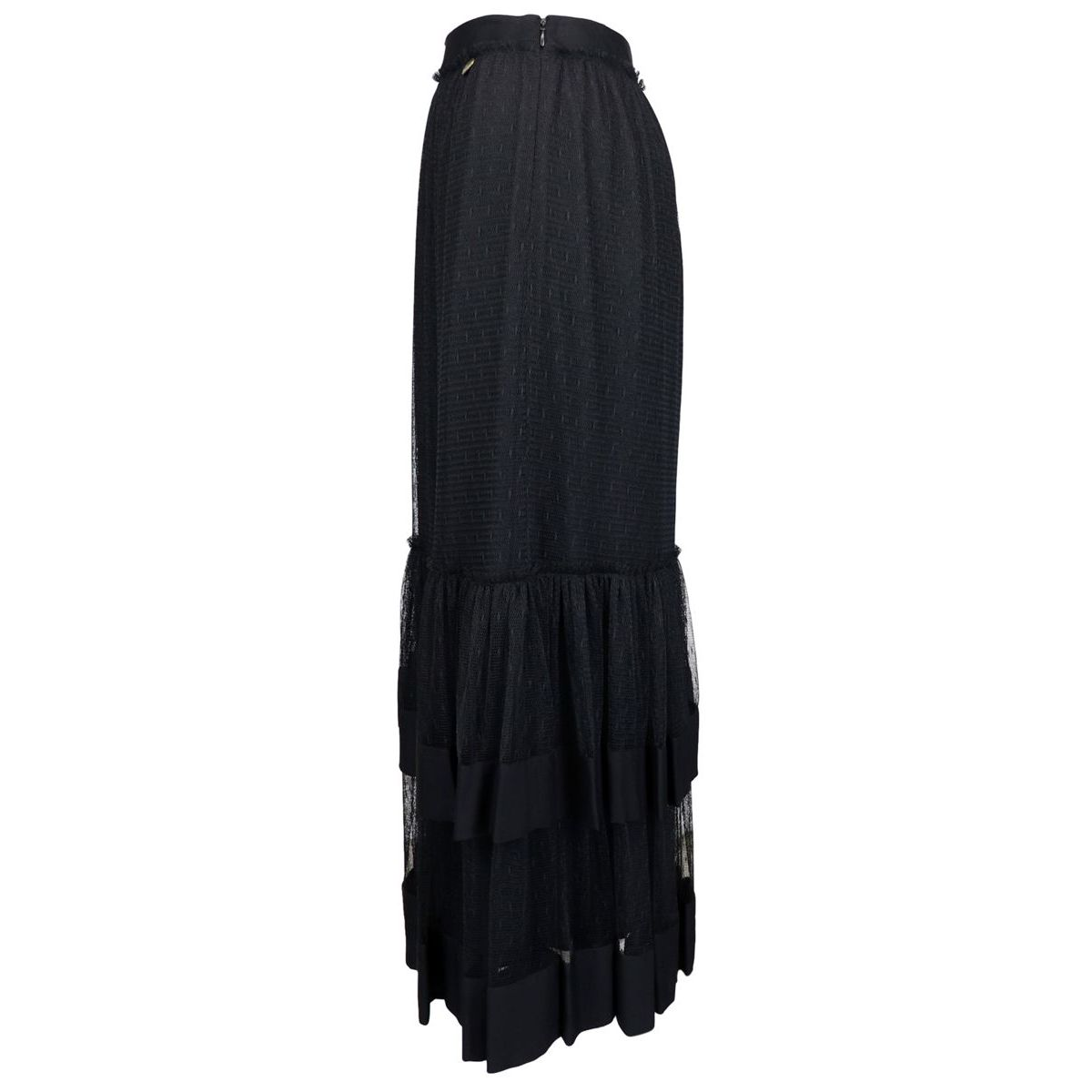 Long skirt in crêpe and plumetis tulle Black Twin-Set