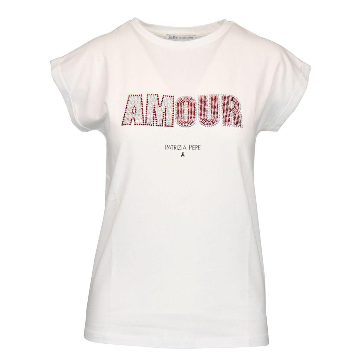 Cotton T-shirt with rhinestone writing White red Patrizia Pepe