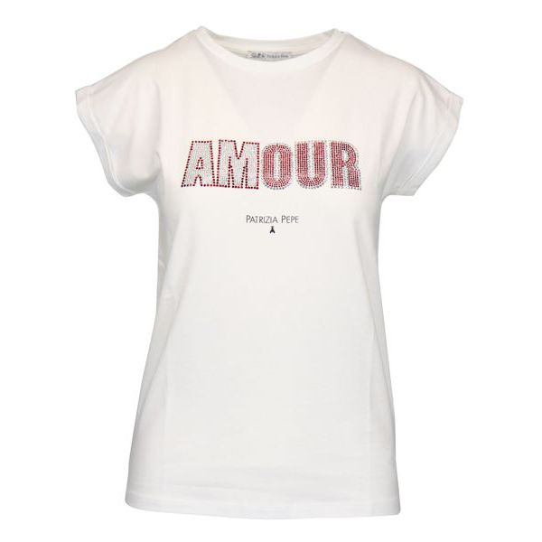 Cotton T-shirt with rhinestone writing White red Patrizia Pepe