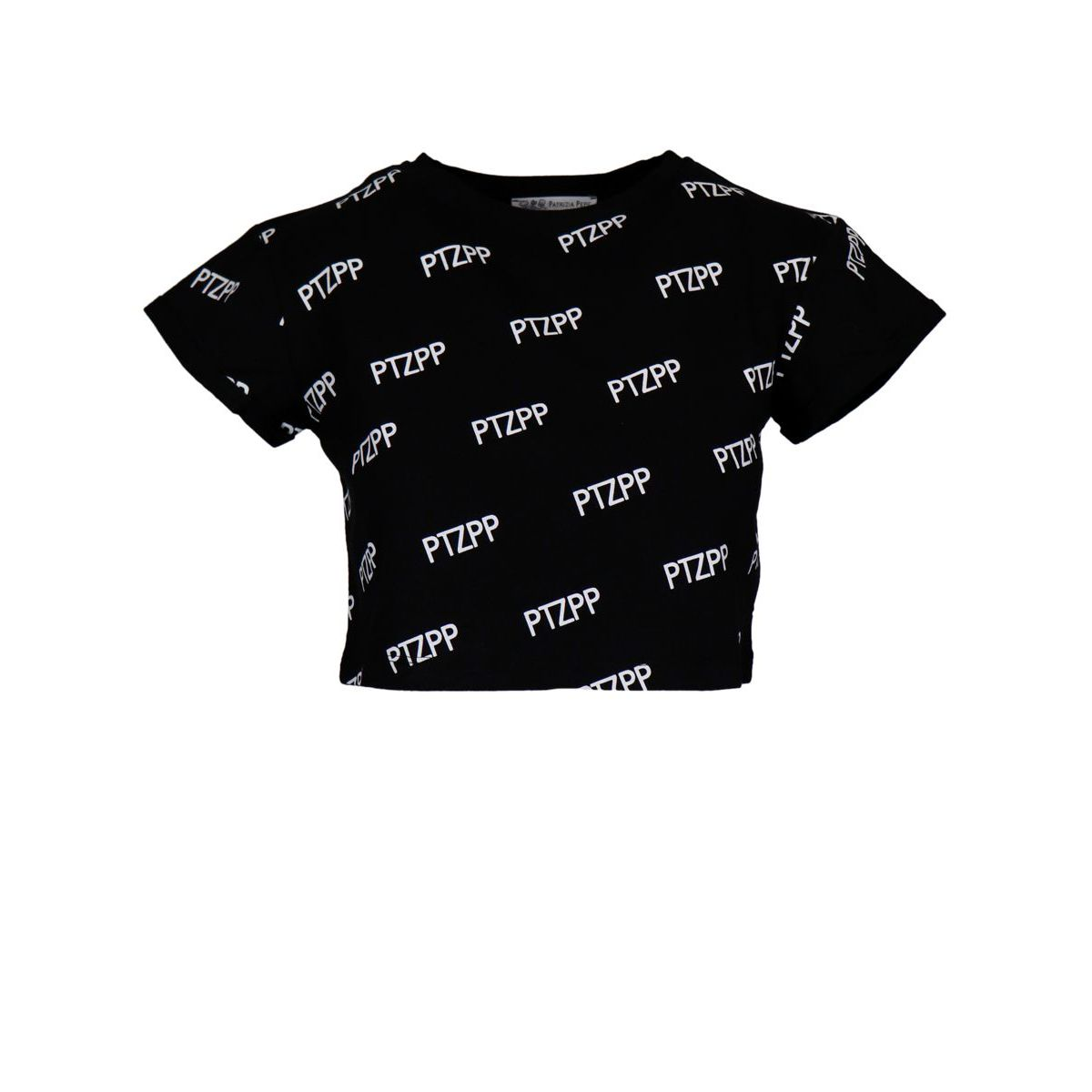 Cropped cotton T-shirt with contrasting lettering Black Patrizia Pepe