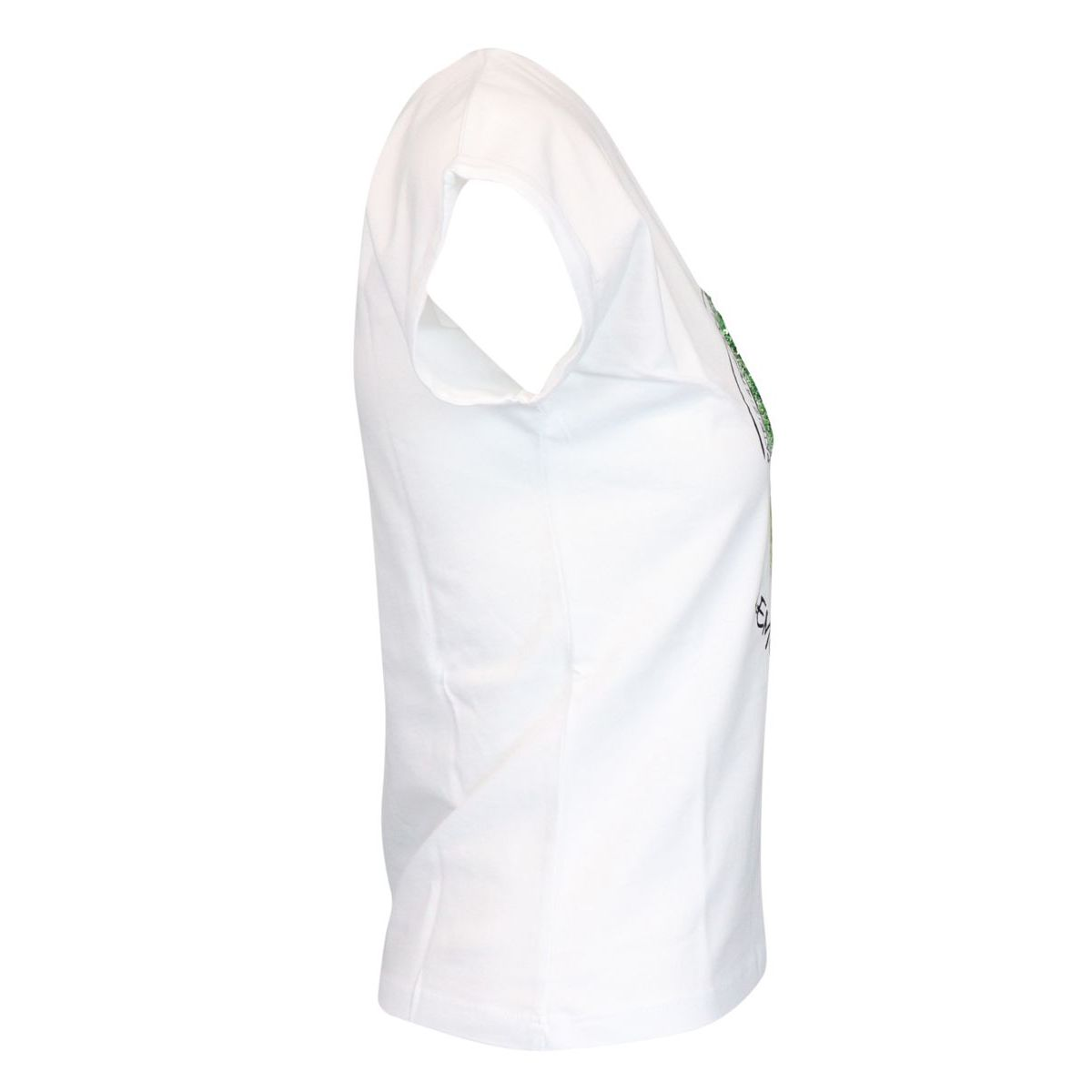 Lemon print cotton t-shirt with sequins White / yellow Patrizia Pepe