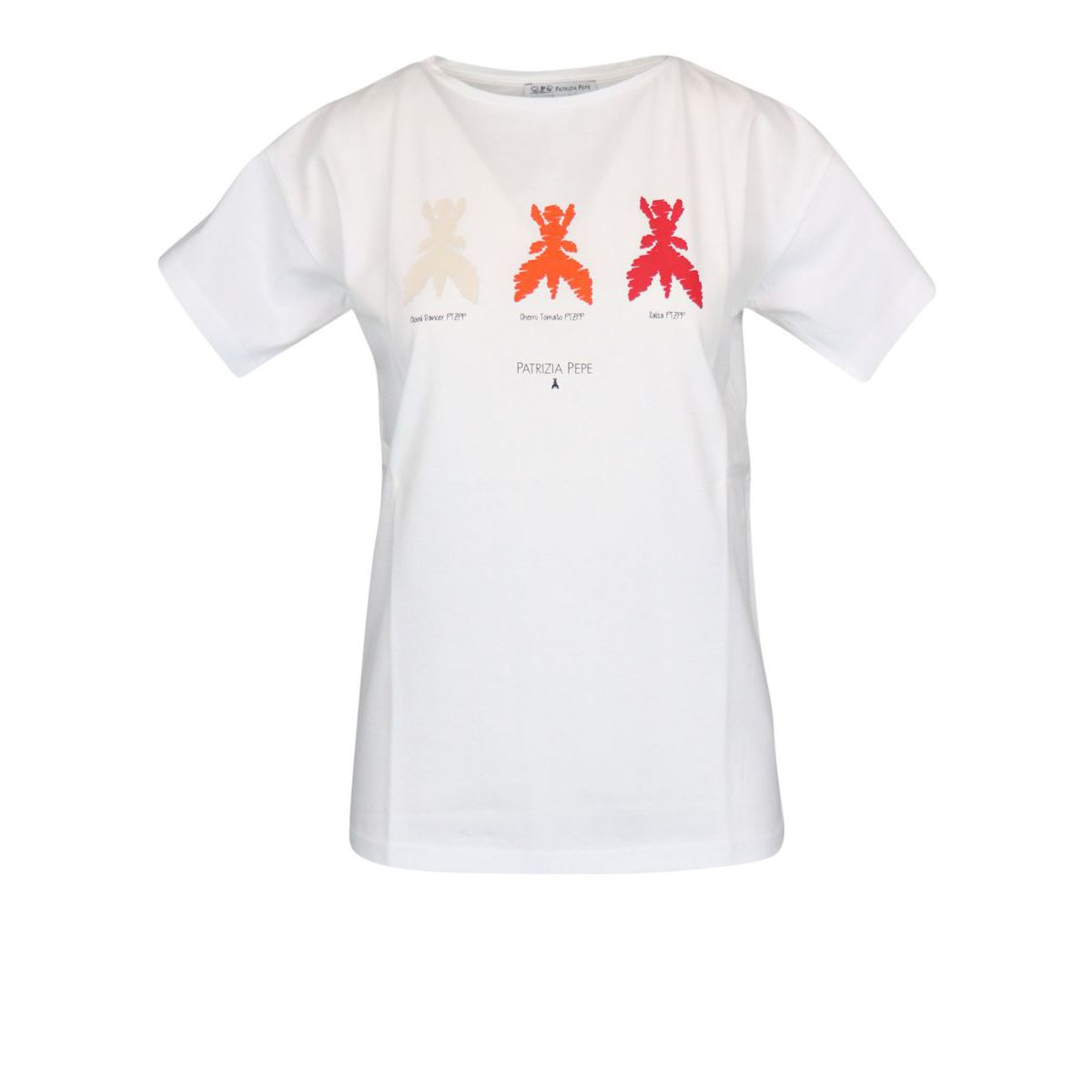 Crew neck cotton T-shirt with contrasting print White red Patrizia Pepe