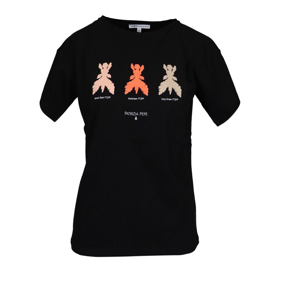 Crew neck cotton T-shirt with contrasting print Black Patrizia Pepe