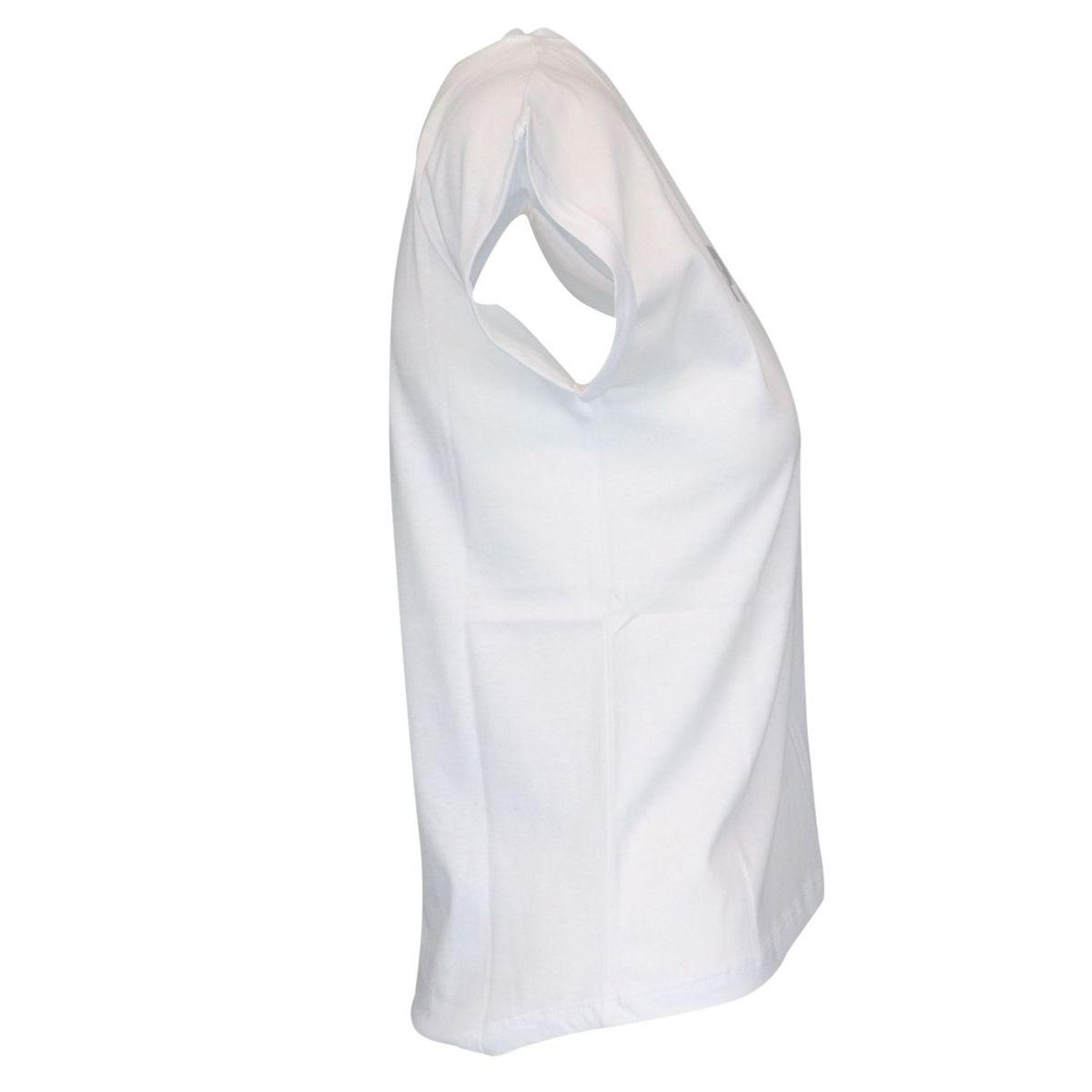 Cotton t-shirt with laminated logo print White / silver Patrizia Pepe