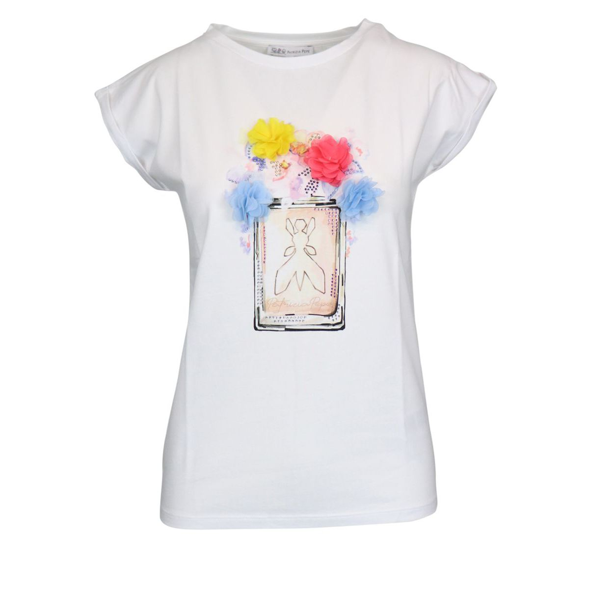 Cotton t-shirt with print and multicolor flower inserts White Patrizia Pepe