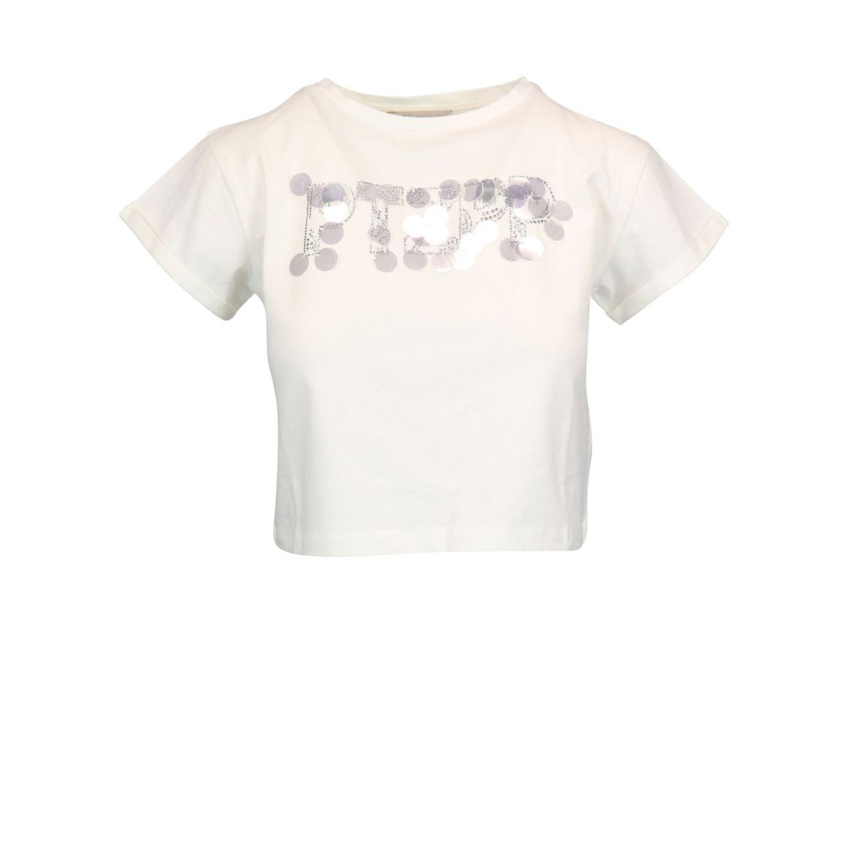 Cropped cotton T-shirt with rhinestones and contrasting inserts White / silver Patrizia Pepe