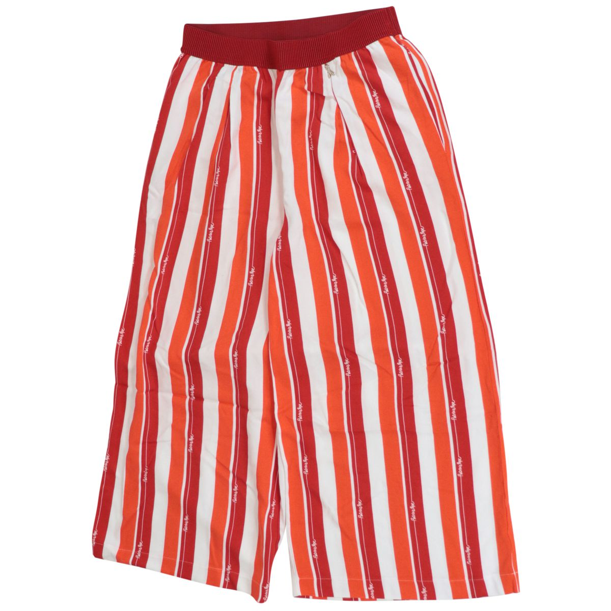 Cropped viscose trousers with striped pattern Red Patrizia Pepe