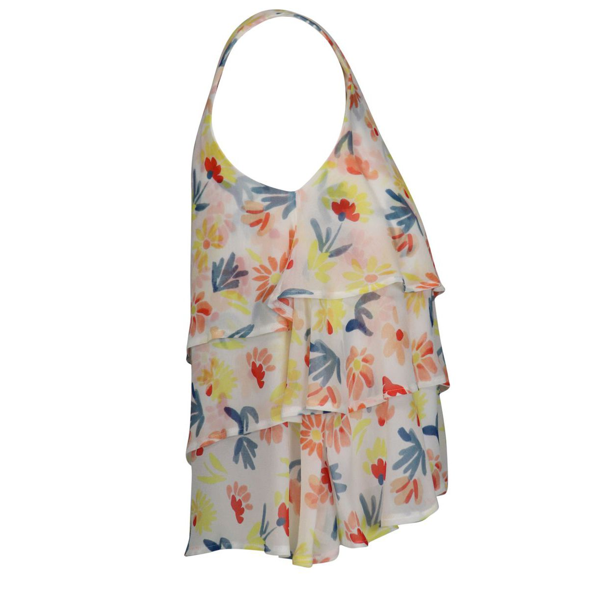 Viscose top with floral print and flounces White Patrizia Pepe