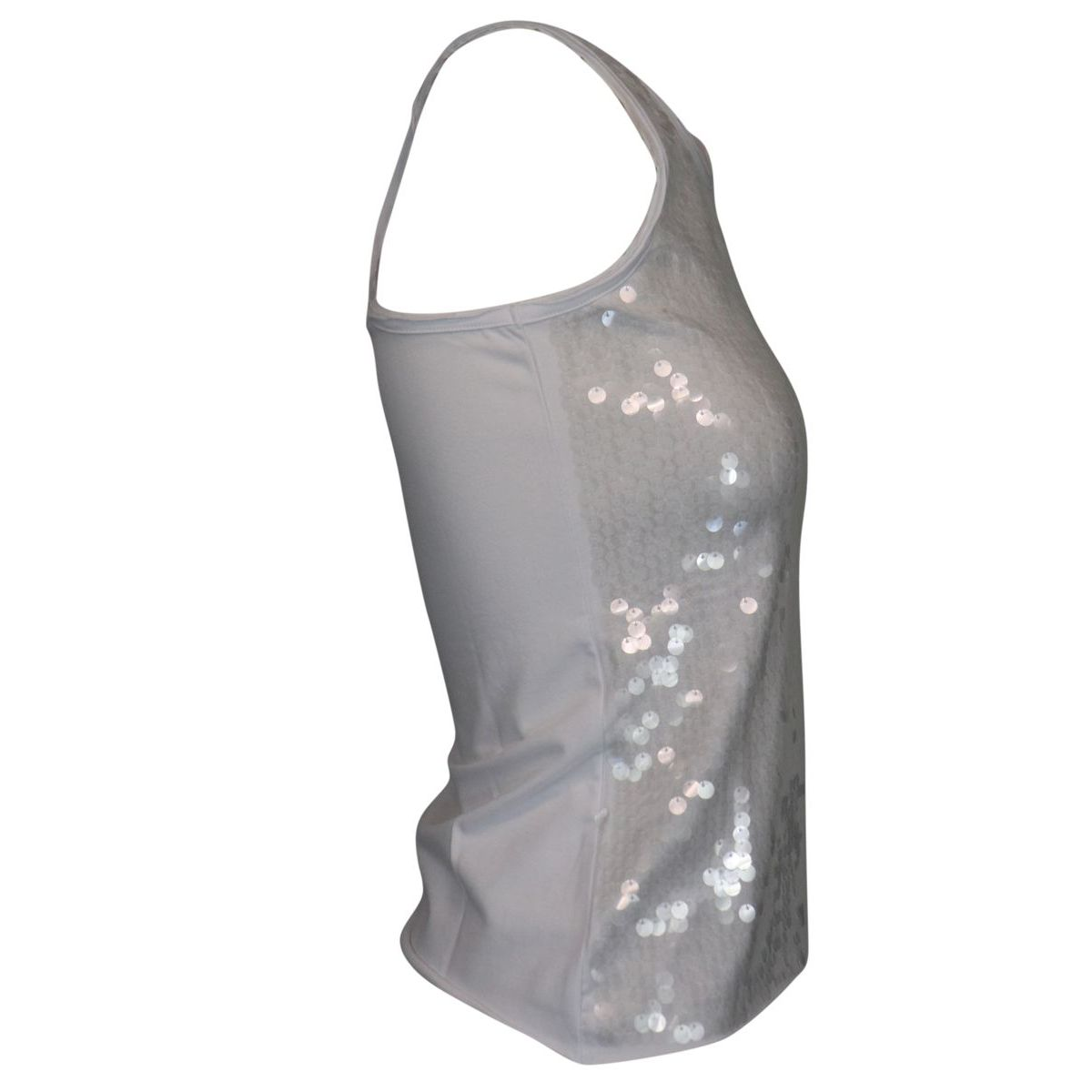 Sleeveless cotton top with sequins White Patrizia Pepe