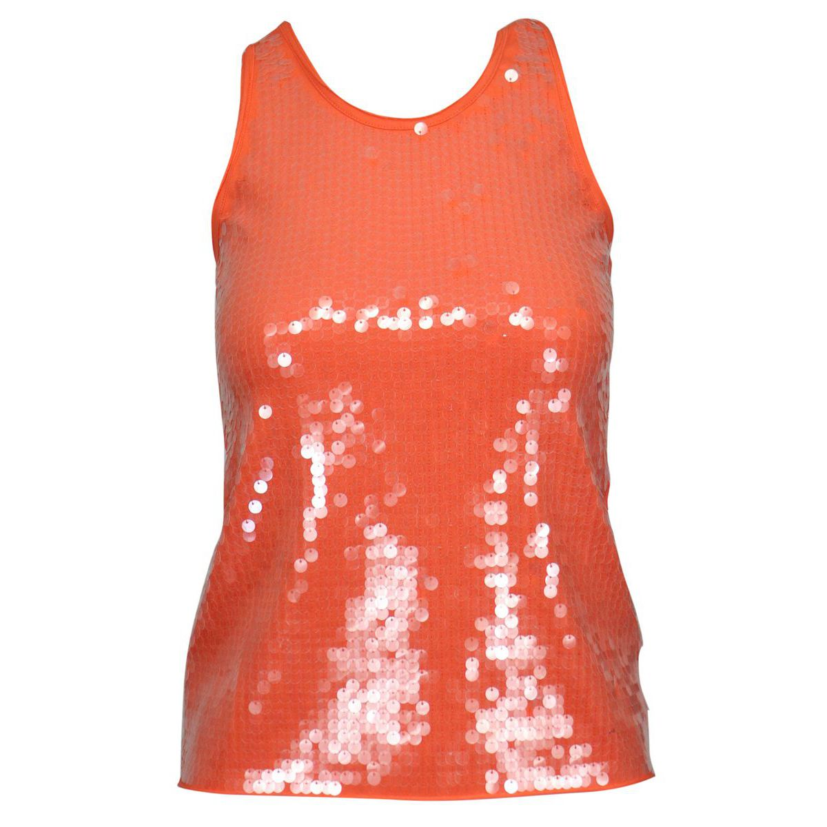 Sleeveless cotton top with sequins Coral Patrizia Pepe