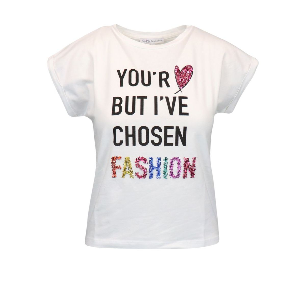 Cotton T-shirt with written print and sequins White Patrizia Pepe