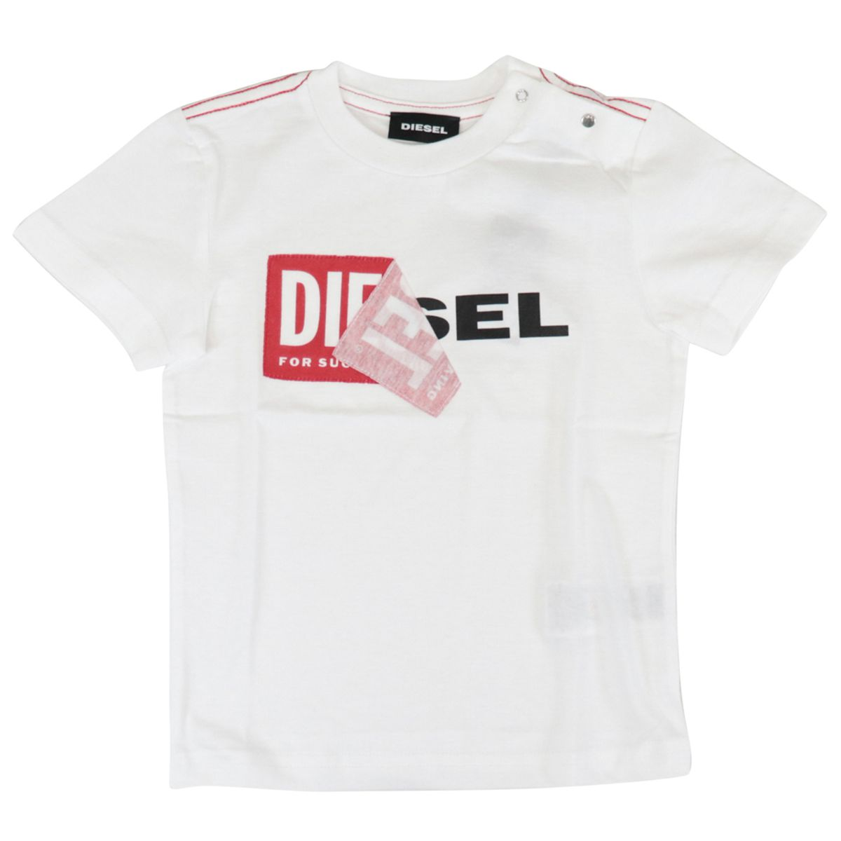 Cotton t-shirt with logo and buttons print White Diesel