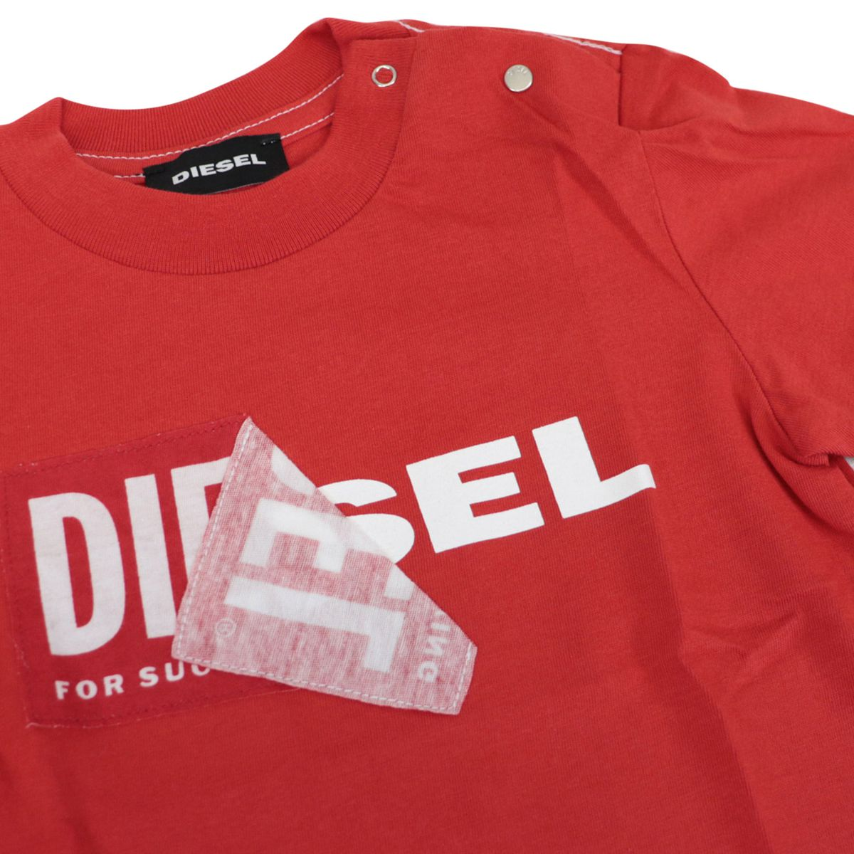 Cotton t-shirt with logo and buttons print Red Diesel