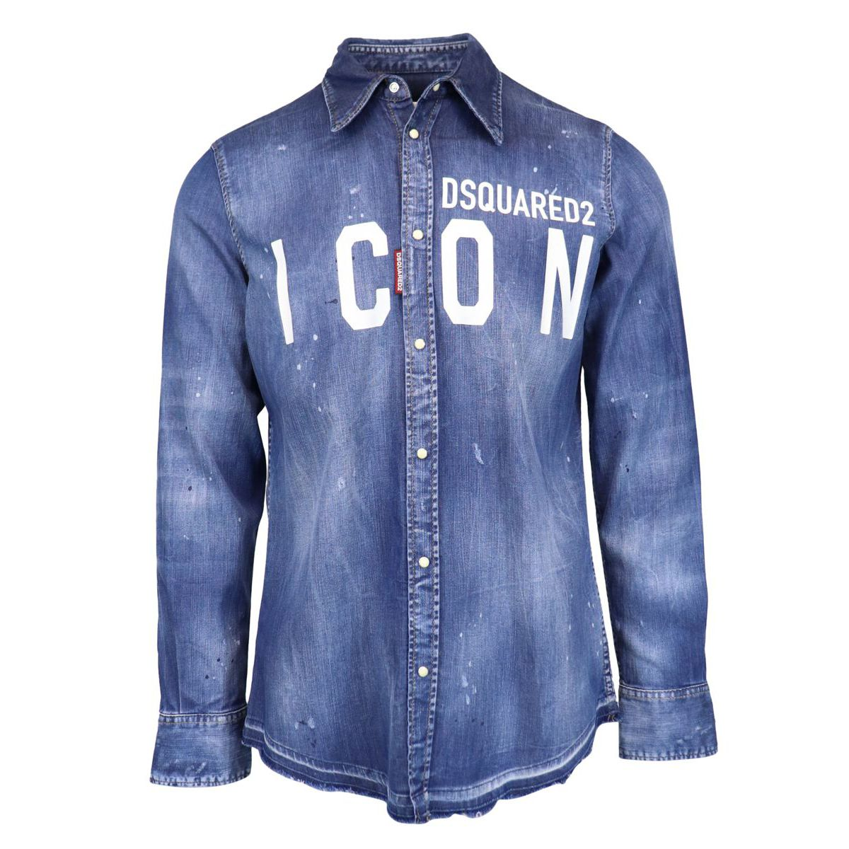 Splatter effect cotton shirt with logo Denim Dsquared2