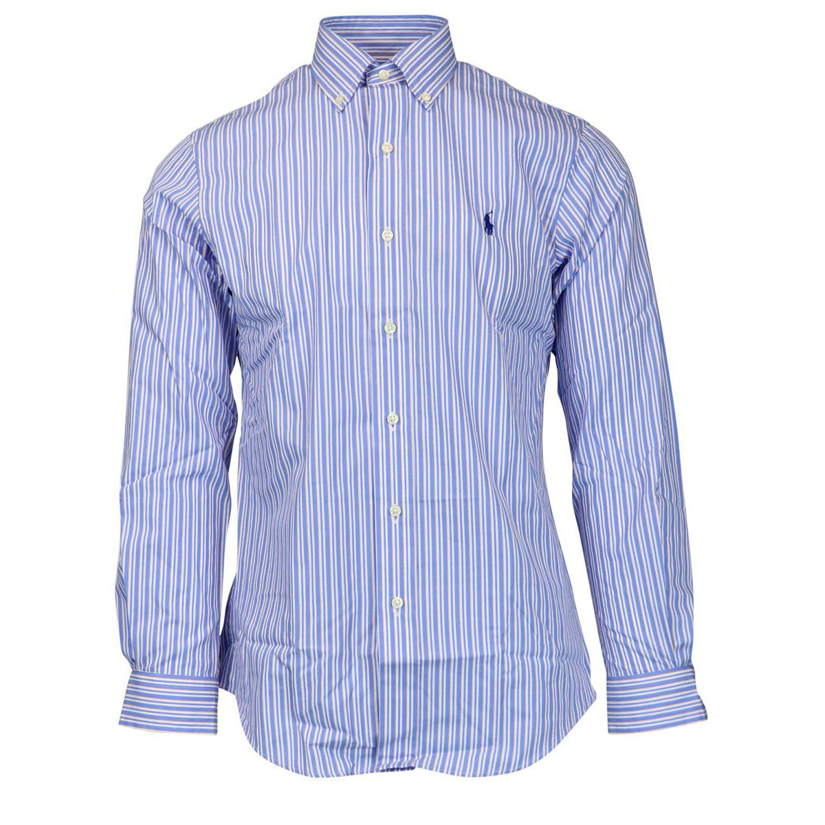 Custom-fit striped button-down cotton shirt Blue \ orange Polo Ralph Lauren