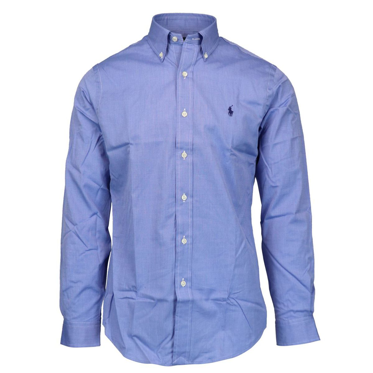 Custom-fit button-down cotton shirt with logo Light blue Polo Ralph Lauren