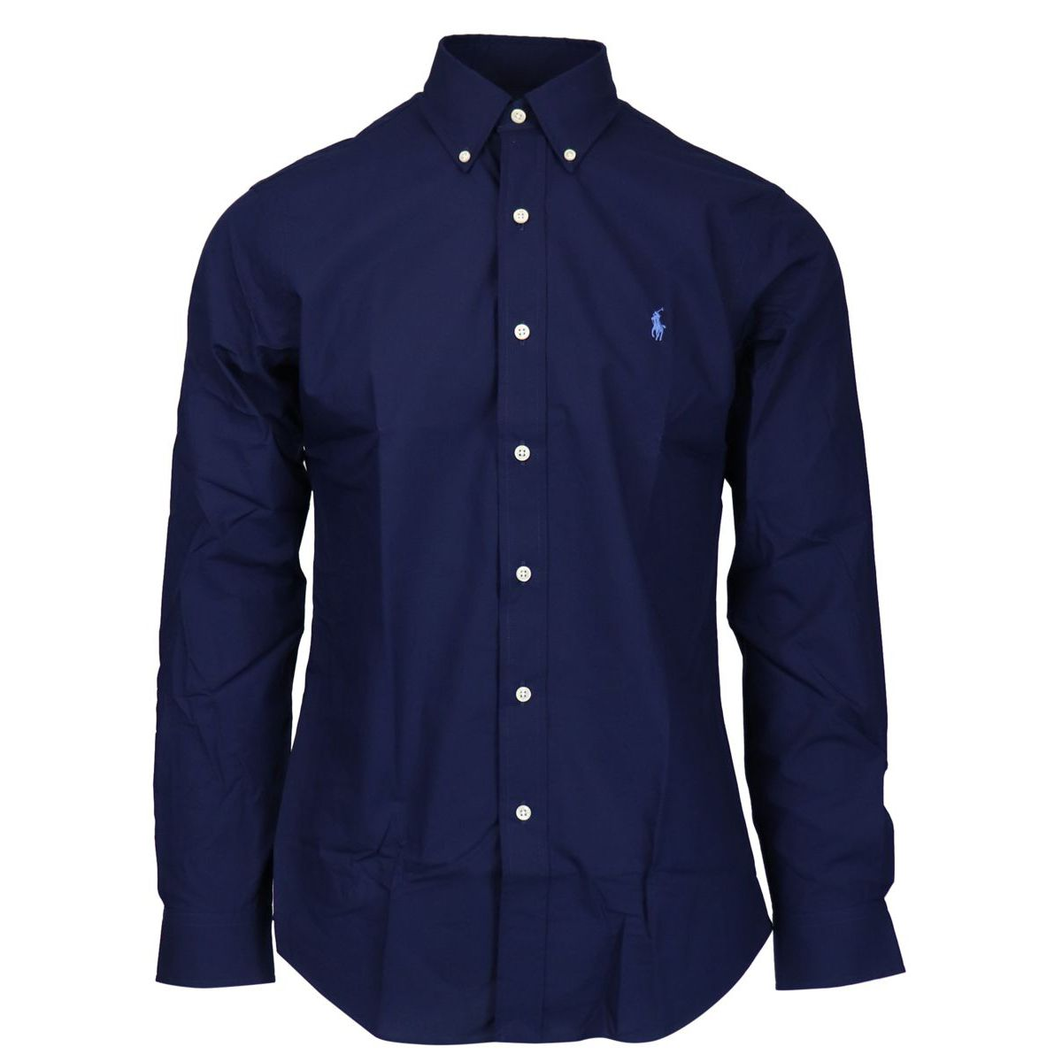 Custom-fit button-down cotton shirt with logo Navy Polo Ralph Lauren