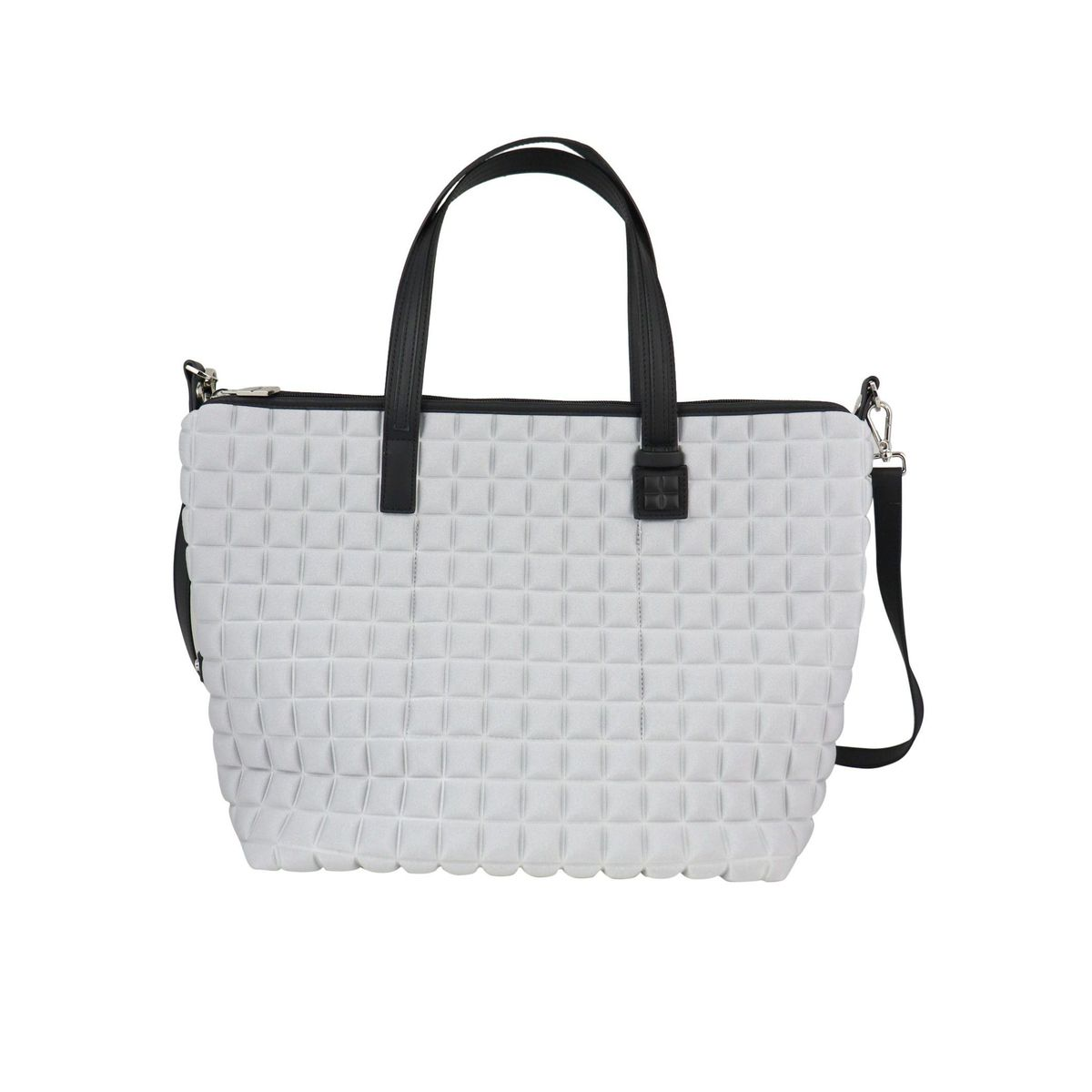 Zipper big shopping bag in 3D cube fabric Silver BPRIME