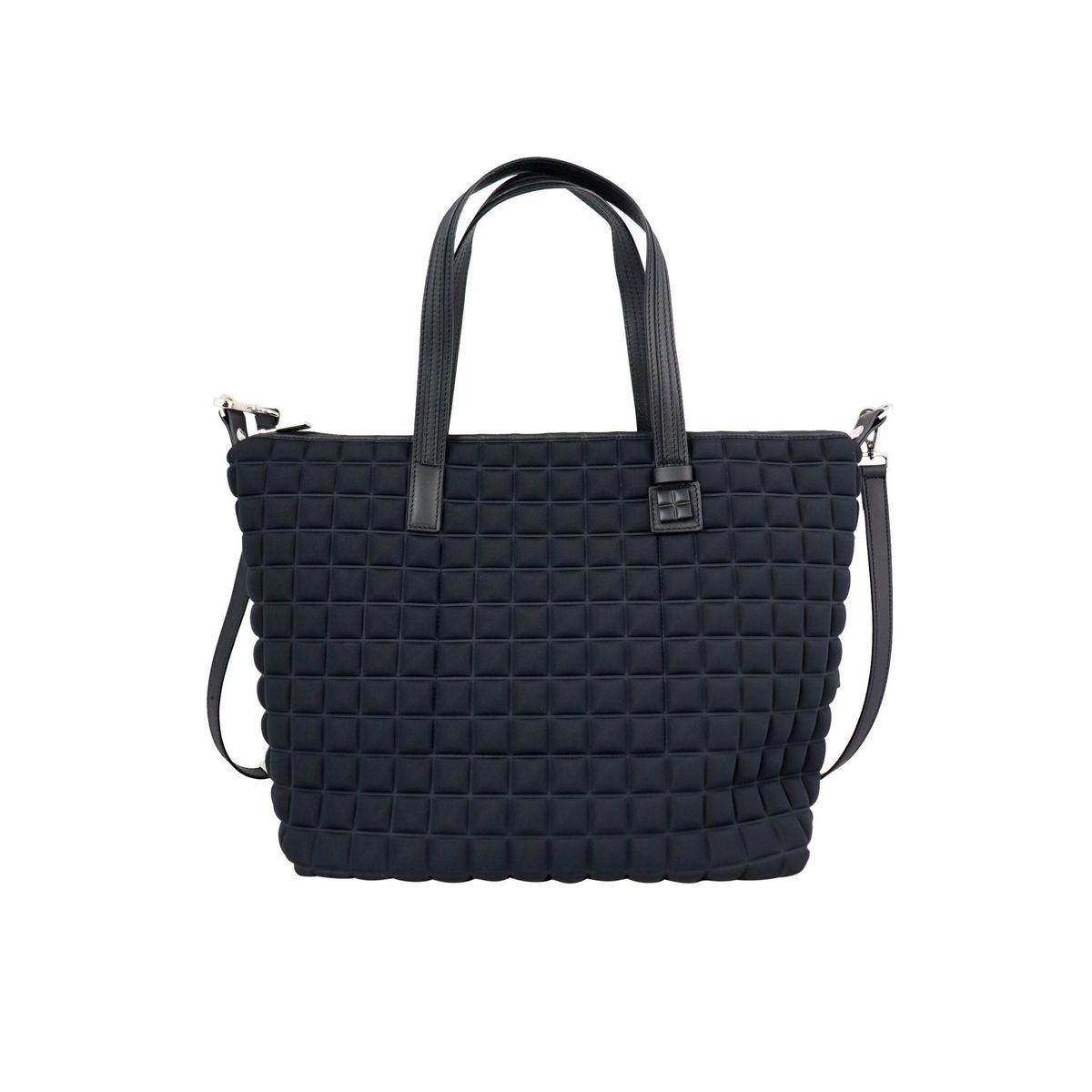 Zipper big shopping bag in 3D cube fabric Black BPRIME