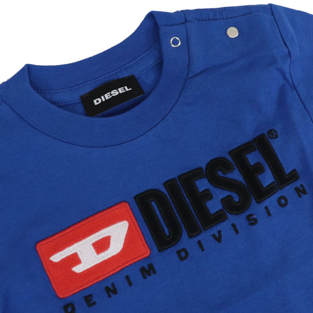 Cotton T-shirt with contrasting logo patch Bluette Diesel