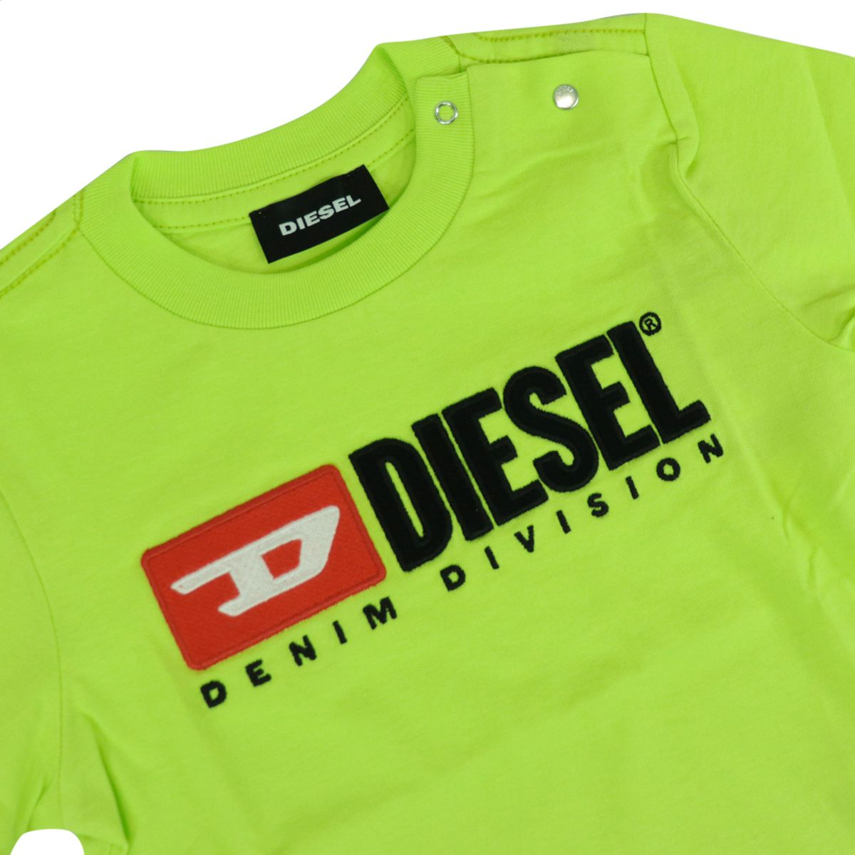 Cotton T-shirt with contrasting logo patch Fluo yellow Diesel