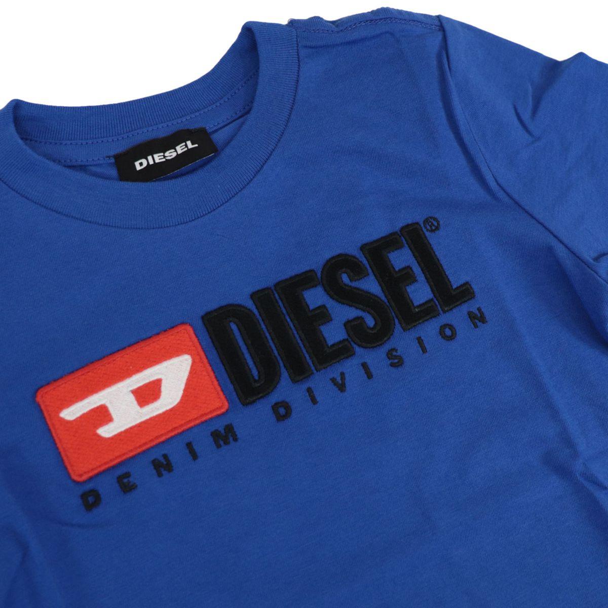 Cotton T-shirt with front logo patch Bluette Diesel
