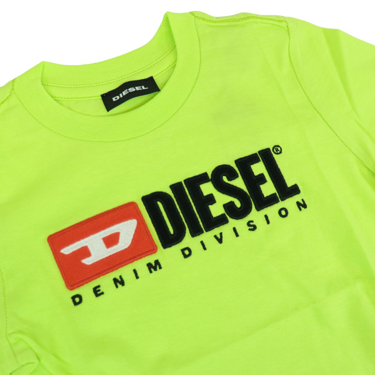 Cotton T-shirt with front logo patch Fluo yellow Diesel
