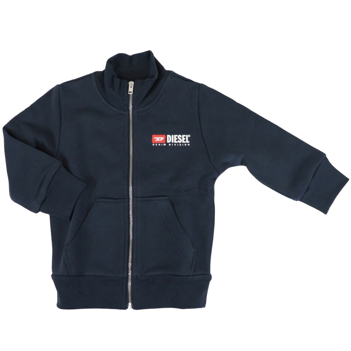 Full zip cotton sweatshirt with logo patch Blue Diesel