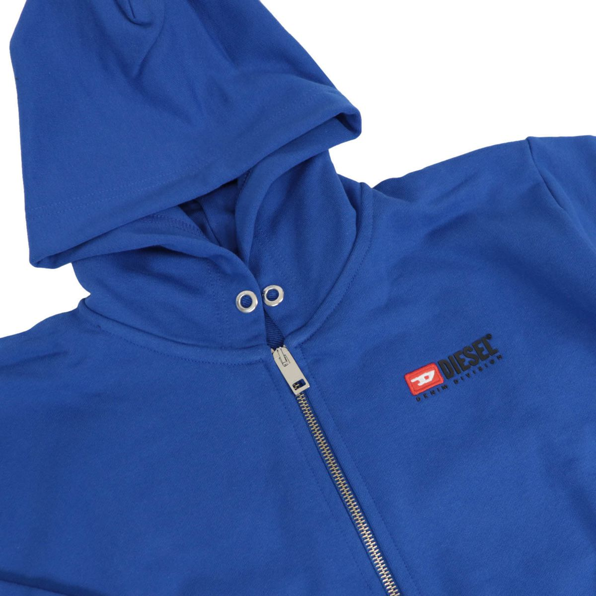 Cotton sweatshirt with hood and logo patch on the back Bluette Diesel