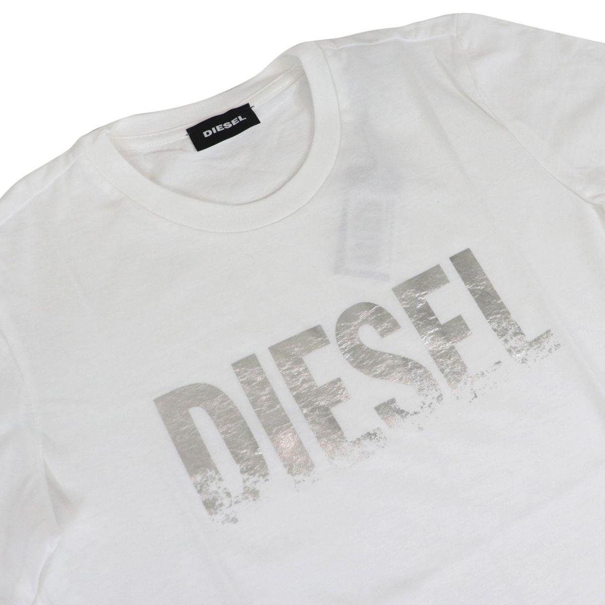 Crew neck T-shirt with laminated logo print White Diesel