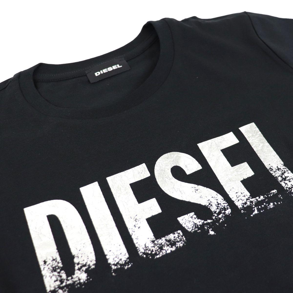 Crew neck T-shirt with laminated logo print Black Diesel