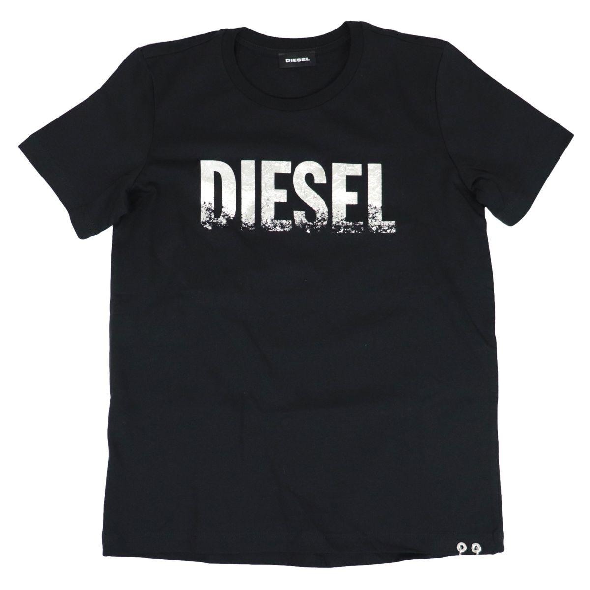 Crew neck T-shirt with laminated logo print Black Diesel