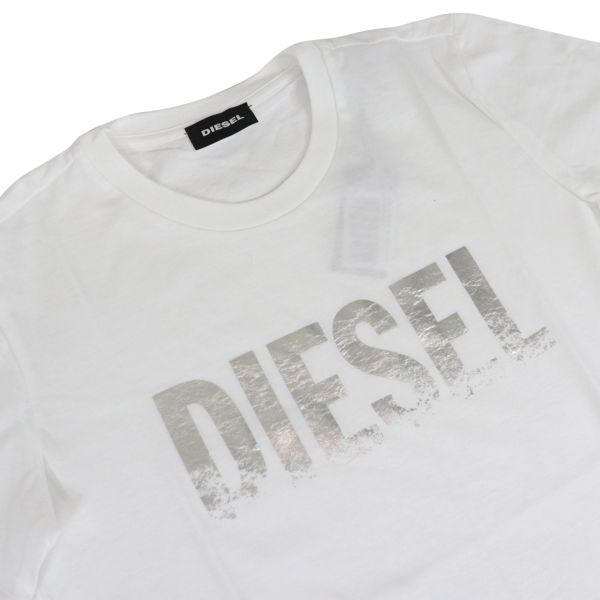 Crew neck T-shirt with laminated logo print White Diesel