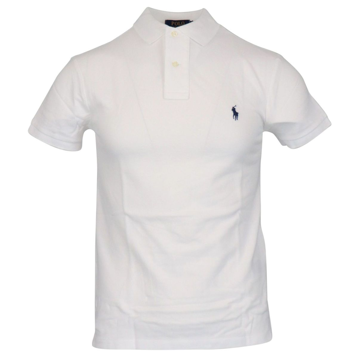 Two-button slim-fit cotton polo shirt with logo White Polo Ralph Lauren